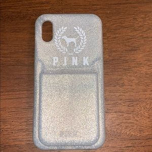 VS Pink iPhone X phone case in sparkly silver